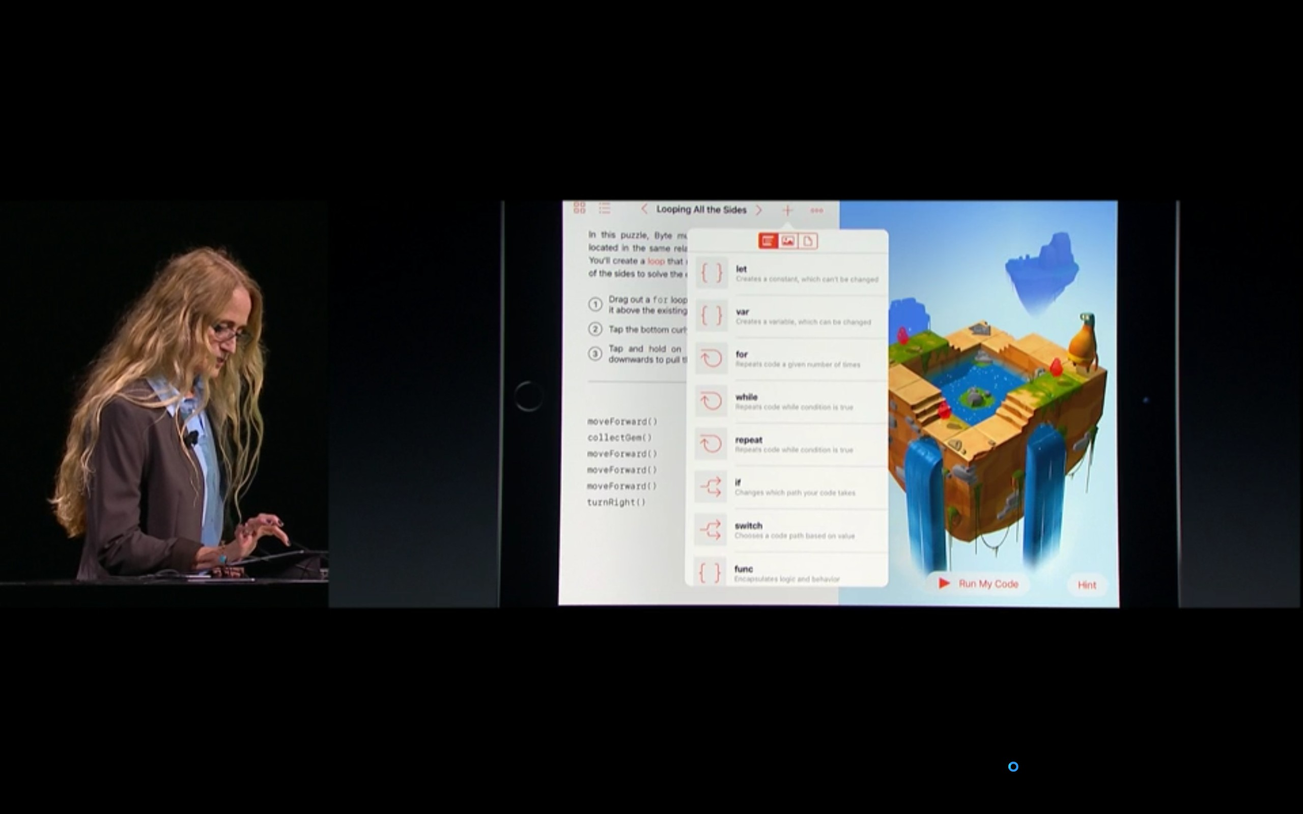 Swift Playgrounds。関数の入力はタップで可能