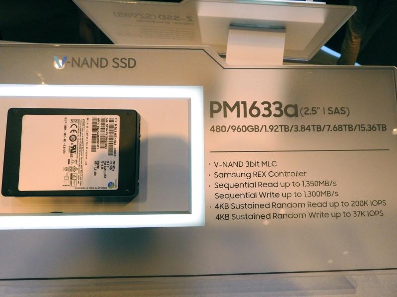 2.5インチSAS対応のエンタープライズ向けモデル「PM1633a」。容量は480GB/960GB/1.92TB/3.84TB/7.68TB/15.36TBで、3bit MLC V-NANDを採用。コントローラはREXで、シーケンシャルリードは最大1,350MB/s、シーケンシャルライトは最大1,300MB/s。4KBランダムリードは最大20万IOPS、4KBランダムライトは最大3万7,000IOPSである