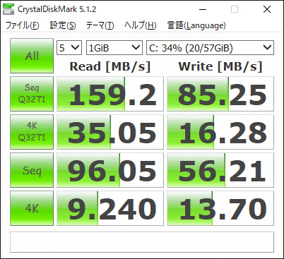 CrystalDiskMark。Seq Q32T1 Read 159.2/Write 85.25、4K Q32T1 Read 35.05/Write 16.28、Seq Read 96.05/Write 56.21、4K Read 9.240/Write 13.70(MB/s)