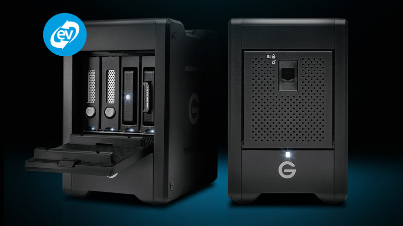 G-SPEED Shuttle with Thunderbolt 3(右)とG-SPEED Shuttle with ev Series Bay Adapters(左)