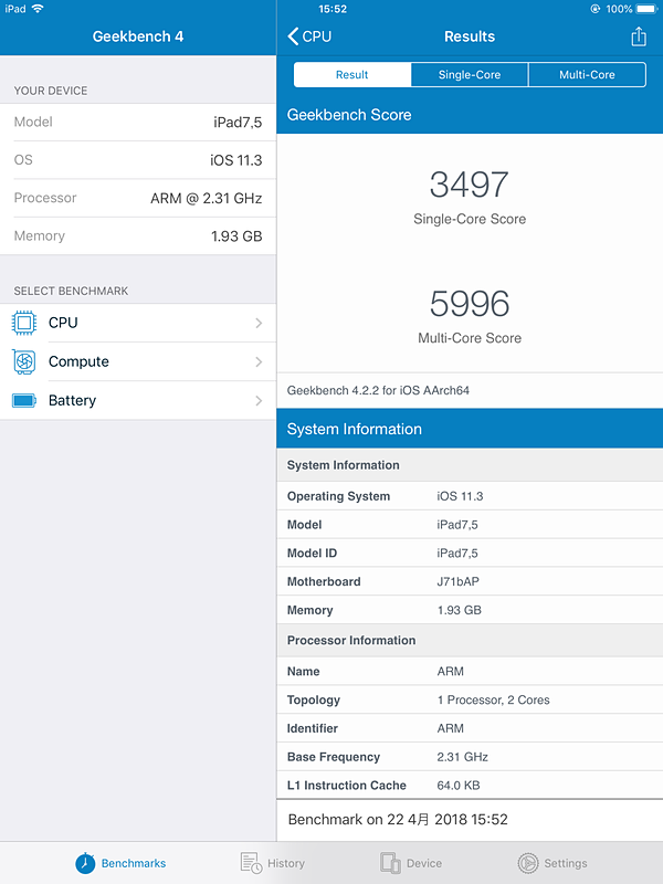 iPad/Geekbench 4/Single-Core 3,497/Multi-Core 5,996