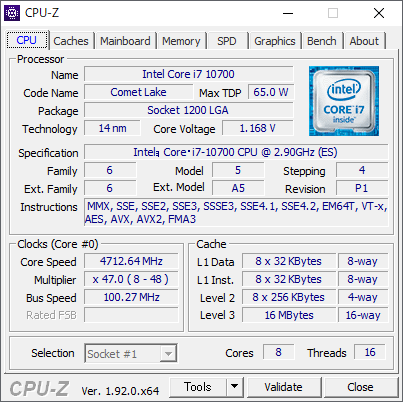 Core i7-10700のCPU-Z実行画面