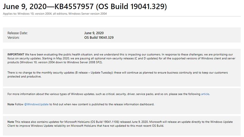 【PC】Windows 10の6月度累積更新が公開。Edgeや機器接続時のセキュリティを向上