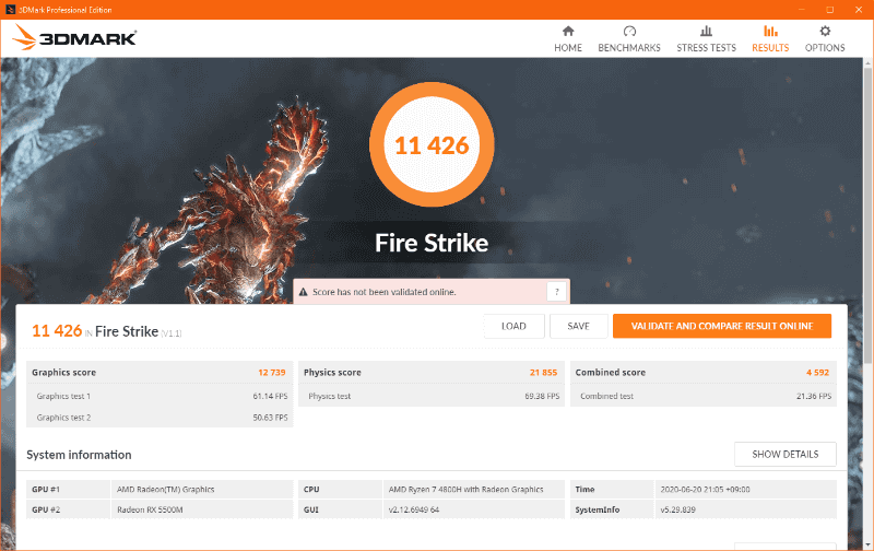 3DMark Fire Strikeの結果