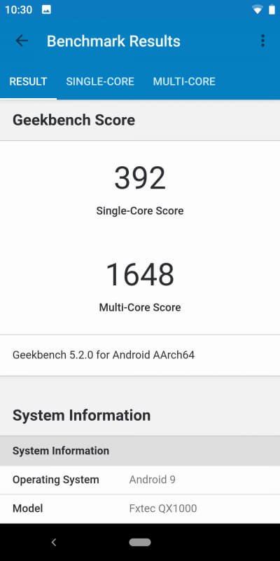Geekbench 5.1.1(1/2)。Single-Core 392、Multi-Core 1,648