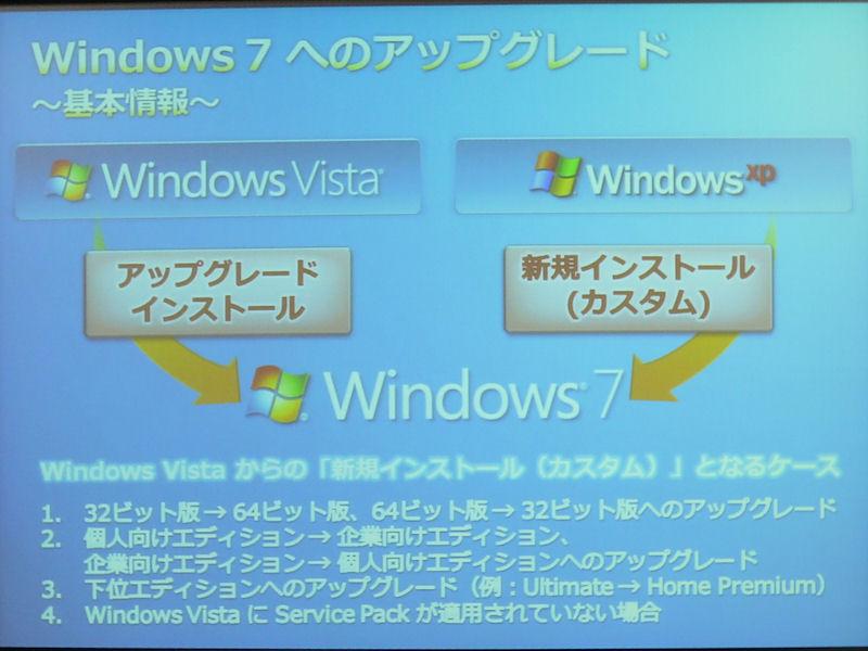 Windows Vistaは上書きインストール対応だが、XPでは新規インストールしかできない