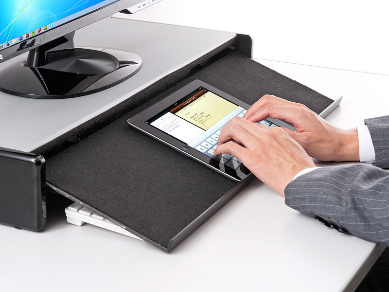 04 Turn your tablet into a big boy computer with Sanwas tablet storing display stand