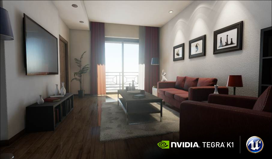 Tegra K1上でのUnreal Engine 4のLiving Roomのデモ