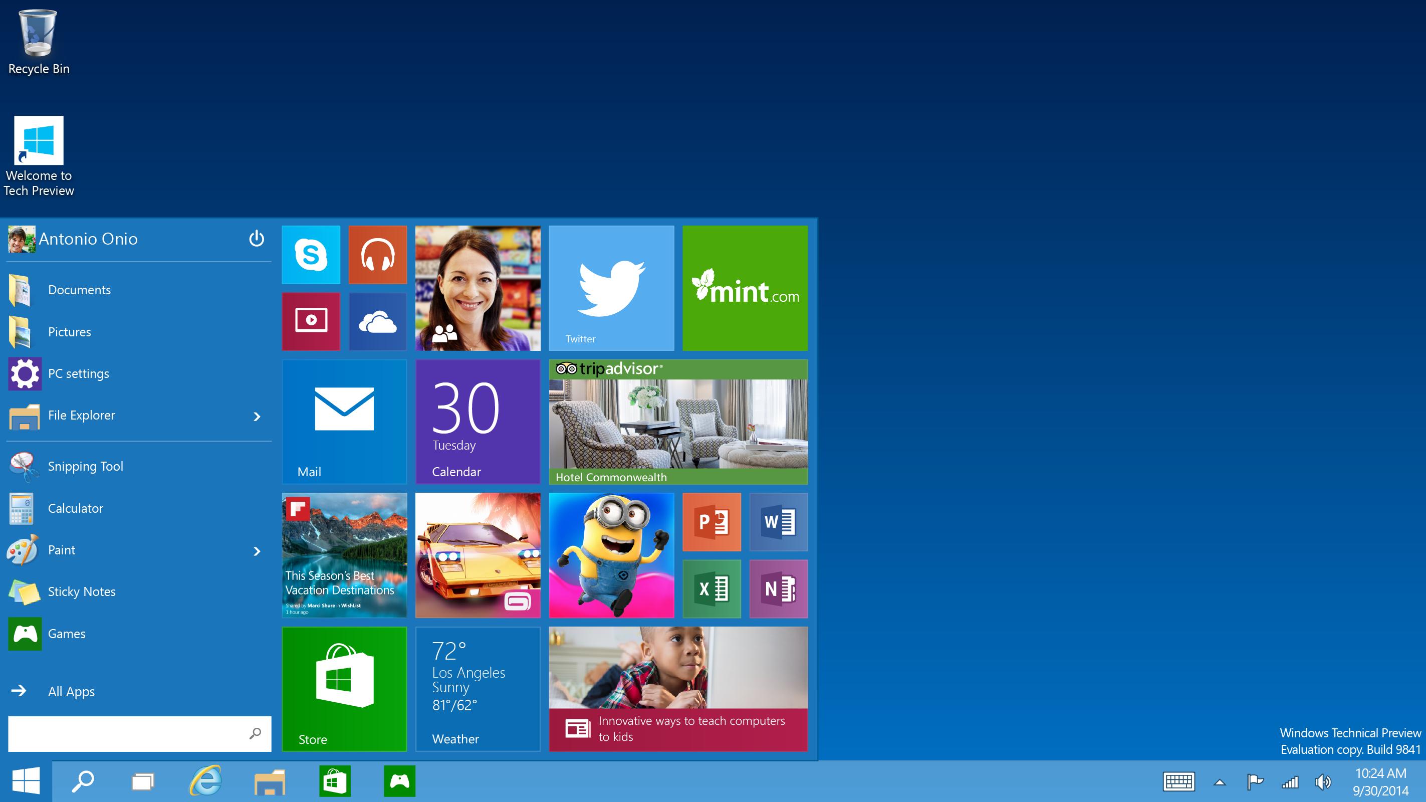 MS、Windows 10の新機能を一部公開 スタートメニュー復活!