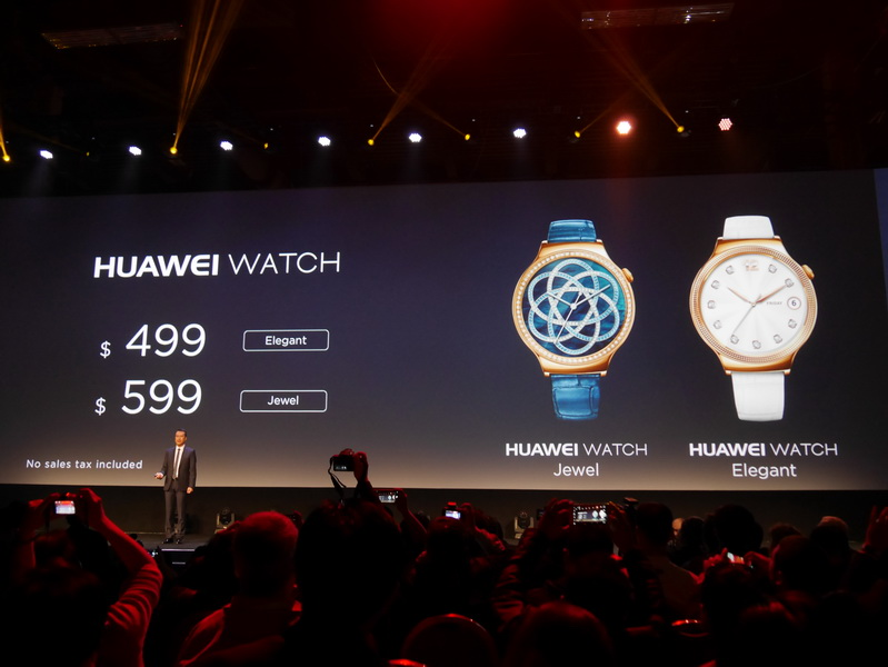 価格はHuawei Watch Elegantが499ドル、Huawei Watch Jewelが599ドル