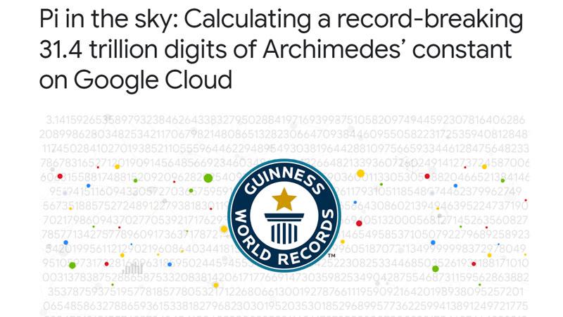 Google、クラウドで円周率31.4兆桁計算。ギネス更新
